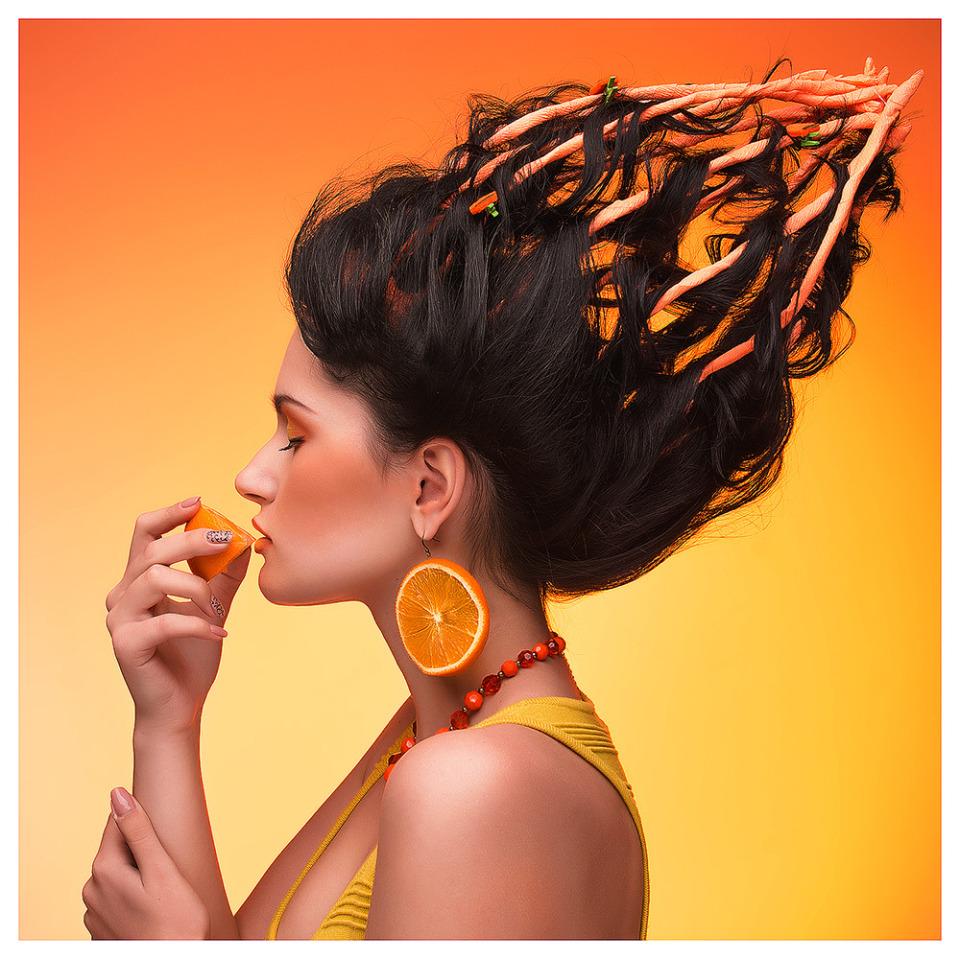 Fiery hairdo | fiery, hairdo, orange earring